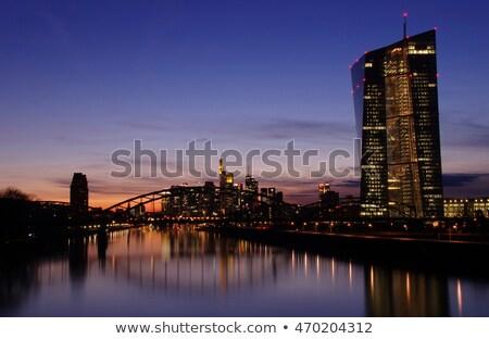 закат Франкфурт реке основной новых офисных зданий Сток-фото © meinzahn