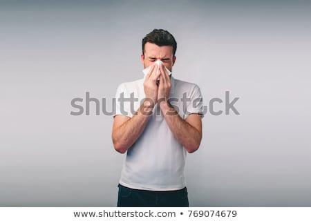 enfermos · nino · sonarse · la · nariz · blanco · médico · medicina - foto stock © ichiosea