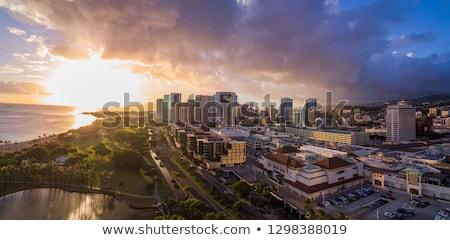 Belváros Honolulu aloha torony kikötő város Stock fotó © LAMeeks