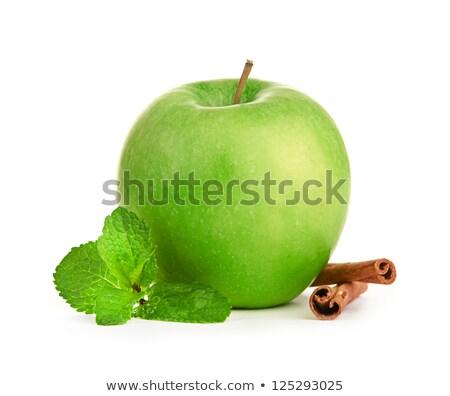 green apple cinnamon sticks and mint leaves still life stock photo © natika