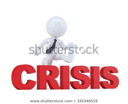 Zakenman springen crisis teken geïsoleerd Stockfoto © Kirill_M