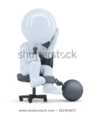 Sad business man chained to his chair. Business concept. Isolated. Contains clipping path Stock photo © Kirill_M