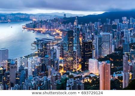 famous hong kong skyline stock photo © tommyandone