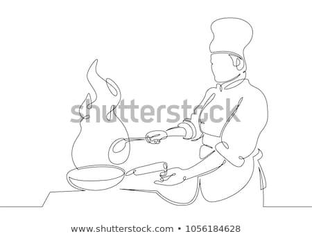 Turkije chef teken vector afbeelding Stockfoto © digitaljoni