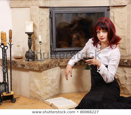Gyönyörű fiatal nő üveg vörösbor kandalló luxus Stock fotó © Nejron