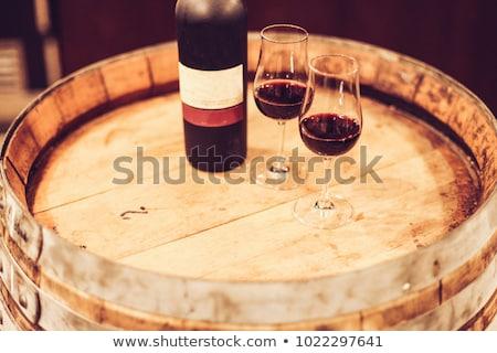 Bril witte robijn haven wijn ingesteld Stockfoto © neirfy