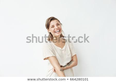 Nevet boldog fiatal szőke nő meztelen Stock fotó © dash