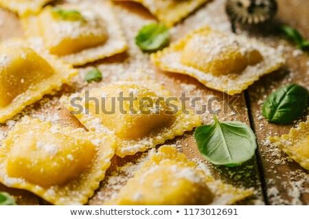 Surowy ravioli bazylia żywności gotować łyżka Zdjęcia stock © M-studio