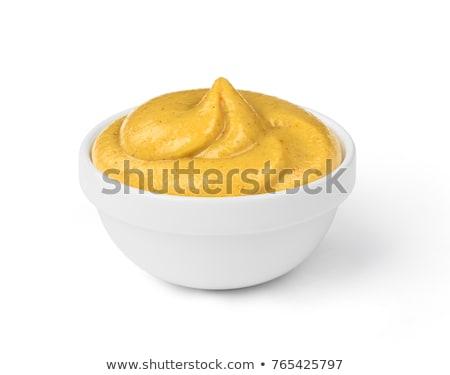 mustár · háttér · asztal · fehér · főzés · szakács - stock fotó © yelenayemchuk