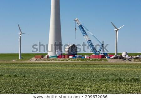 Aerogenerador campo grúa construcción granja Foto stock © justinb