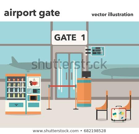 Repülőtér kapu függőleges kilátás felirat utazás Stock fotó © vwalakte