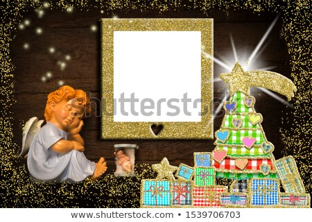 wooden sign blank christmas greeting angel stock photo © marimorena
