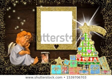 Stockfoto: Christmas · groet · engel · wenskaart · rustiek