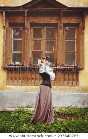 красивой женщину Vintage одежды Постоянный старые Сток-фото © dariazu