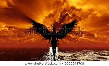 Repülés angyal szeretet gyermek felhő nyíl Stock fotó © tiKkraf69