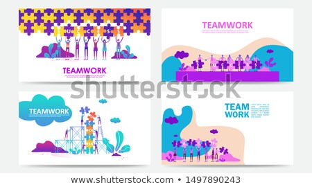 Landing Page on Blue Puzzle. Stock photo © tashatuvango