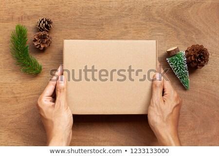 Boldog férfi tart fából készült doboz fenyőfa Stock fotó © deandrobot