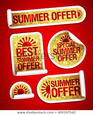 Foto stock: Verão · dourado · vetor · ícone · botão · tecnologia