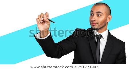 üzletember ír láthatatlan képernyő jelző fehér Stock fotó © AndreyPopov