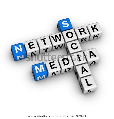 Social Media News on Blue Puzzle. Stock photo © tashatuvango