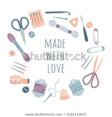 швейных · инструменты · текстуры · ткань · черный · Vintage - Сток-фото © tycoon