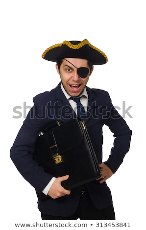 One eyed pirate with sword isolated on white Stock photo © Elnur