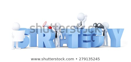 business team with strategy sign business concept isolated contains clipping path stock photo © kirill_m