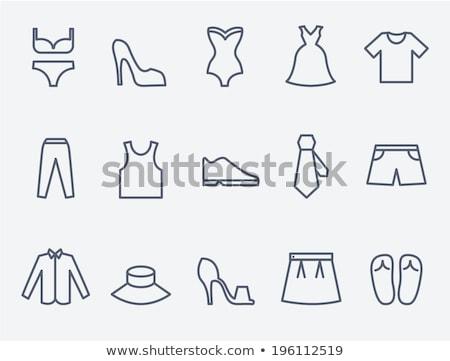 Stock photo: Lady high heel shoe thin line icon