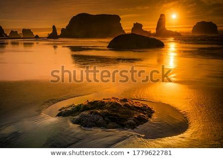 ada · siluet · gün · batımı · Hindistan · doğa · manzara - stok fotoğraf © juhku
