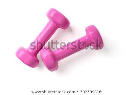 Rose haltères fitness isolé blanche femme Photo stock © tetkoren
