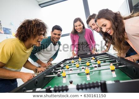mesa · partido · de · fútbol · macro · rojo · amarillo · jugadores - foto stock © stevanovicigor