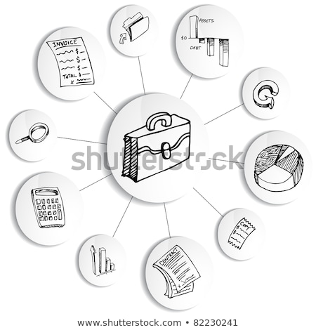 black briefcase and doodle business icon Stock photo © netkov1