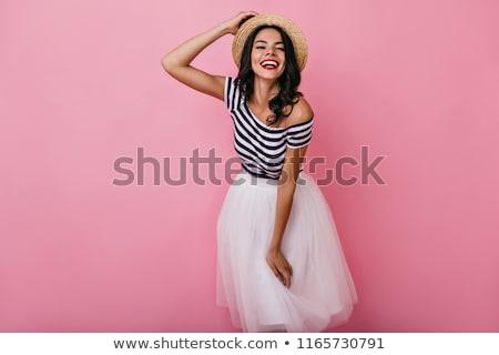 Nina blanco falda estudio posando romántica Foto stock © fotoduki