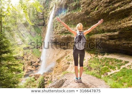 Vízesés park Alpok Szlovénia gyönyörű természetes Stock fotó © kasto