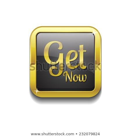 Stockfoto: Nu · gouden · vector · icon · knop · technologie