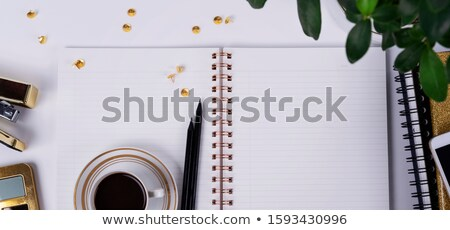 Stockfoto: Open · notebook · potlood · beker · koffie · top