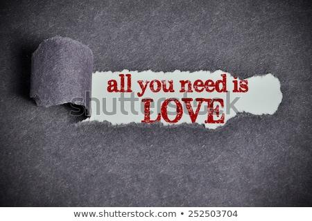 összes szükség szeretet szakadt papír szöveg mögött Stock fotó © ivelin