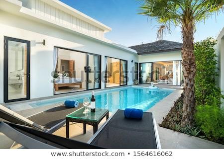 美しい 水 プール 家 建設 背景 ストックフォト © jrstock