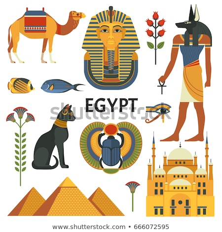 Colored Egypt icons set Stock photo © netkov1