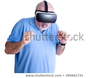 Man reacting to action in virtual headset Stock photo © ozgur