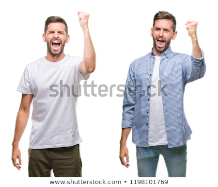 angry casual man screaming stock photo © deandrobot