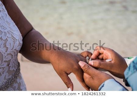 Stockfoto: Lesbische · paar · handen · trouwring · mensen