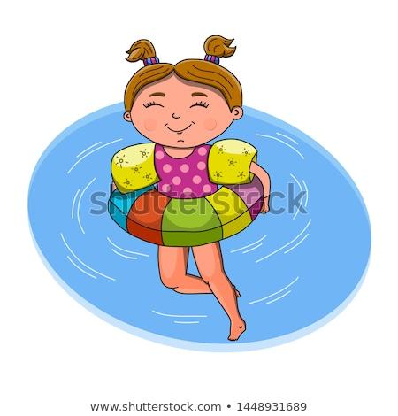 beautiful girl swim with rubber circle stock photo © aleksangel