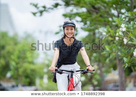 mulher · equitação · bicicleta · ao · ar · livre · menina · feliz - foto stock © deandrobot
