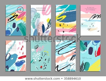 ストックフォト: セット · 芸術的 · 創造 · ユニバーサル · カード · 手描き