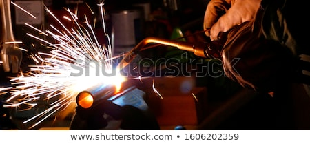 Stock photo: metall cutting with acetylene welding