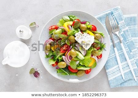 Friss zöldség saláta zöld olajbogyók levelek paradicsom Stock fotó © Digifoodstock