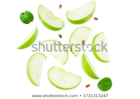 vier · voll · grünen · Äpfel · isoliert · weiß - stock foto © karandaev
