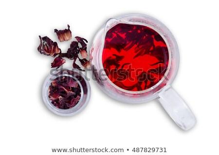 Hibiszkusz forró tea felszolgált üveg bögre Stock fotó © ozgur