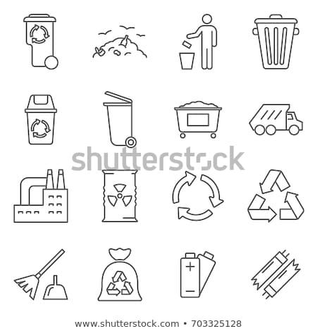 Homem lixo cesto de lixo simples preto Foto stock © Evgeny89